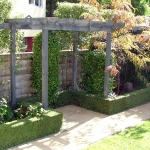 Timber pergola set within a topairy hedge
